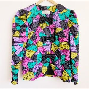 graphic multicolour puff sleeve party jacket